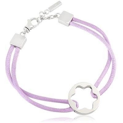 MONT BLANC 粉紫色六角星純銀手鍊