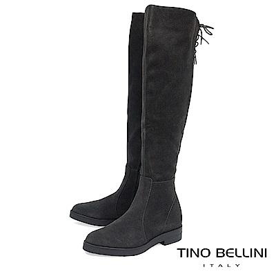 Tino Bellini 義大利進口麂皮心機內增高過膝靴_ 深灰