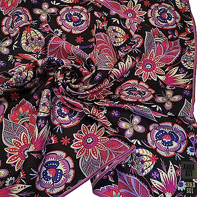 ANNA SUI 絲質魔法花園圖騰品牌金色字母LOGO帕領巾(黑底紫色系)