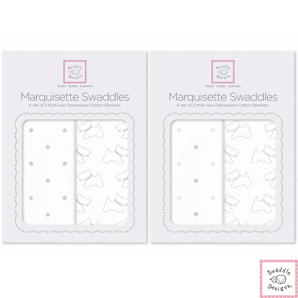 Swaddle Designs 多用途嬰兒包巾2入彌月禮盒組-狗狗點點