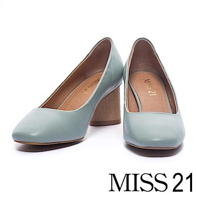 跟鞋 MISS 21 經典復古素面羊皮方頭粗跟鞋-藍