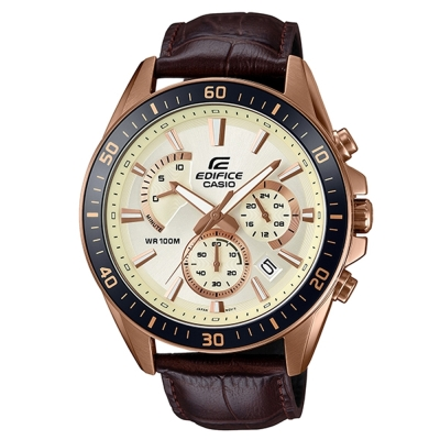 EDIFICE極速魅力俐落帥氣金時尚皮帶腕錶(EFR-552GL-7)白面X咖啡47mm