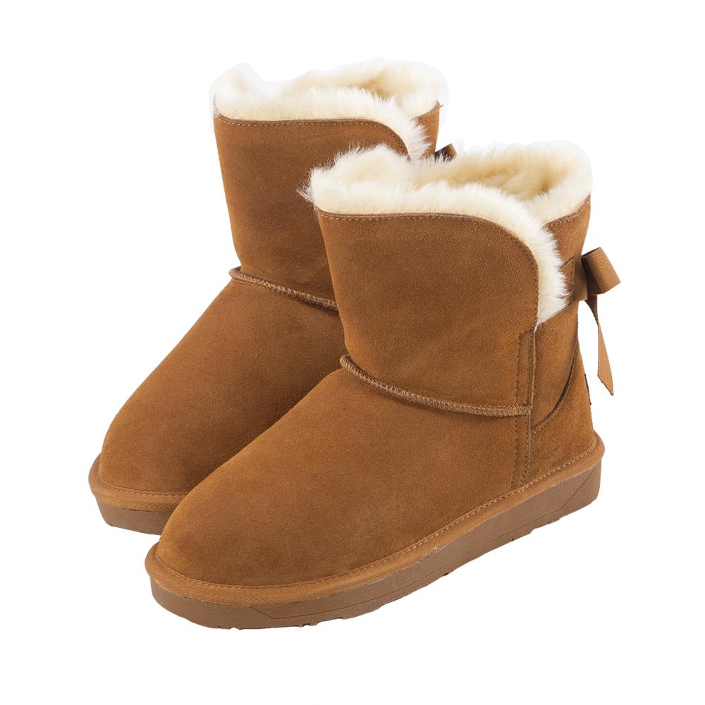 Grace gift-真皮後蝴蝶綁結雪靴 棕