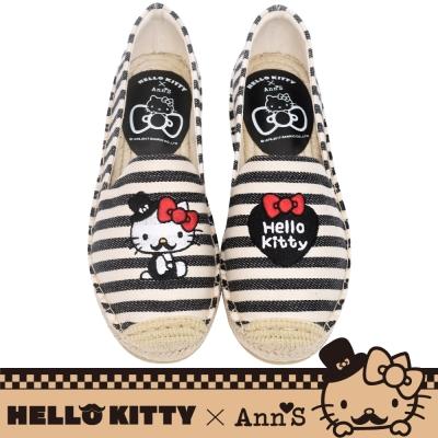 HELLO KITTY X Ann'S小幸運達利不對稱刺繡平底草編鞋-黑