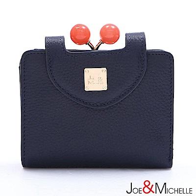 J&M 真皮愛蜜莉框釦短夾 海軍藍