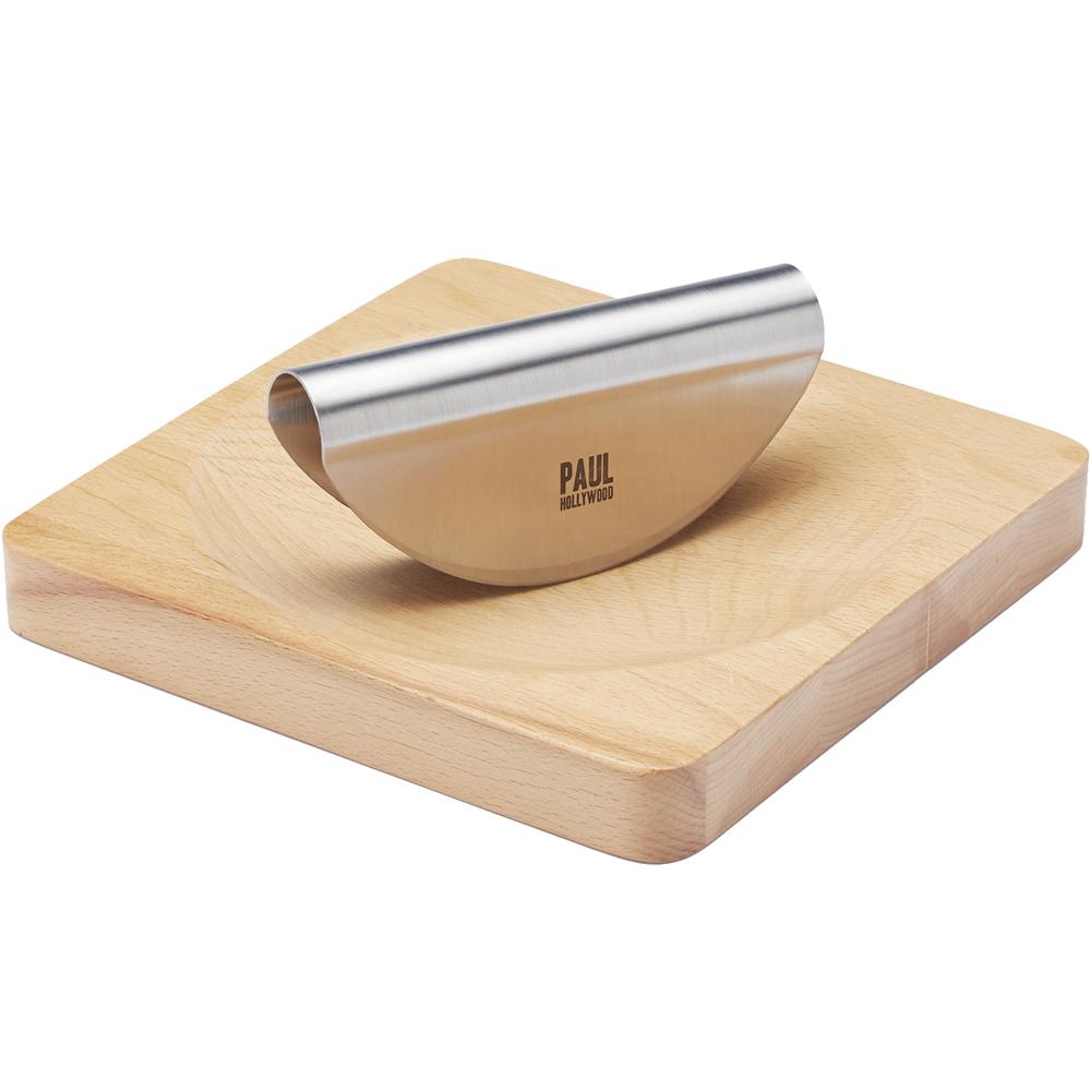 KitchenCraft Paul櫸木砧板+香料彎刀