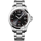 LONGINES浪琴 征服者系列V.H.P.萬年曆手錶-黑x銀/43mm