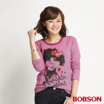 BOBSON 女款條紋長袖上衣(桃紅15)