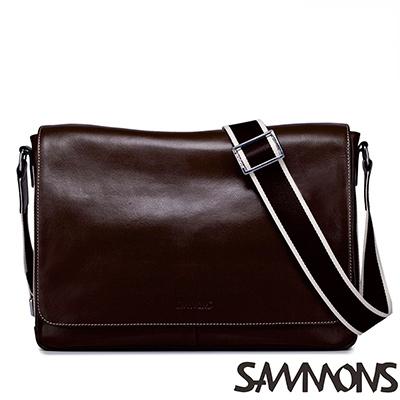 SAMMONS真皮查理簡約掀蓋橫式斜背包-巧克咖