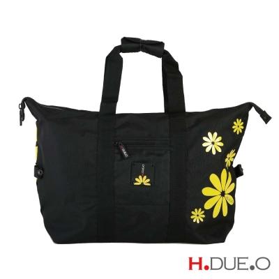 【義大利H.DUE.O】嬉皮花朵旅行折疊肩背袋 - 俏皮黃