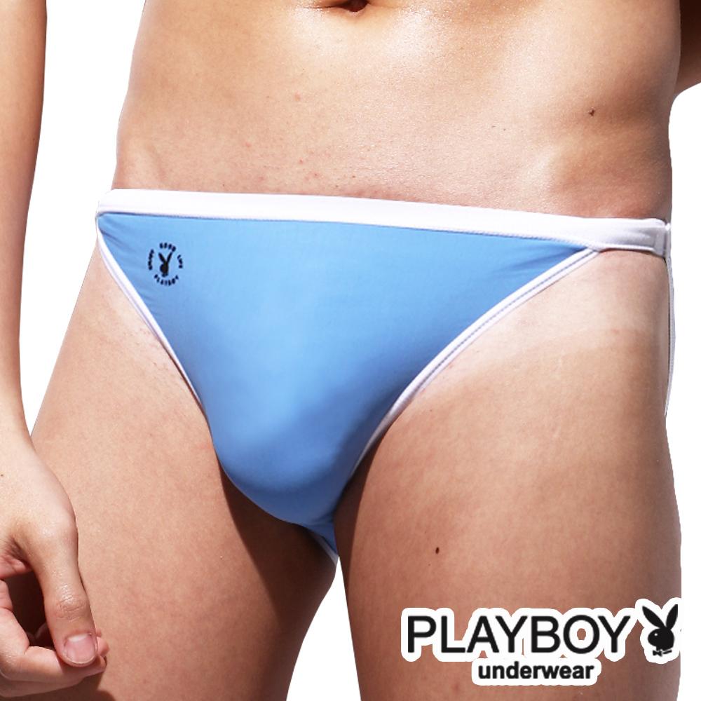 PlayBoy 萊卡經典款超細纖維高叉三角褲-單件(水藍)