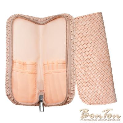 BonTon 6支淡粉皮革編織刷具包