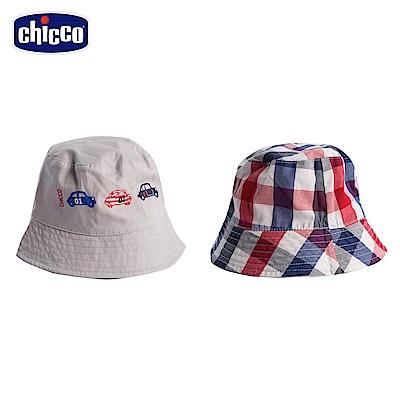 chicco-小小賽車手-格紋雙面帽-白