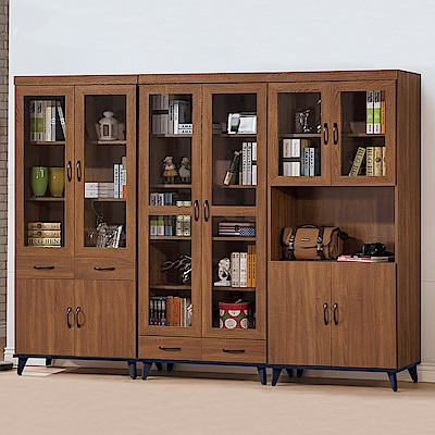 Bernice-奧雷8.1尺書櫃收納櫃展示櫃組合-243x40x195cm