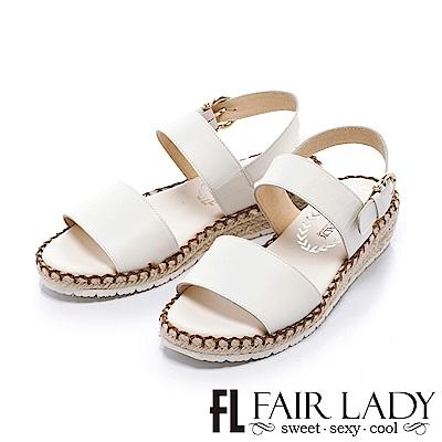Fair Lady 悠活一字寬版草編楔型涼鞋 白