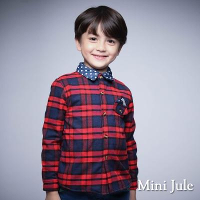 Mini Jule 童裝-襯衫 搖粒絨點點領格紋棉質長袖襯衫(紅)