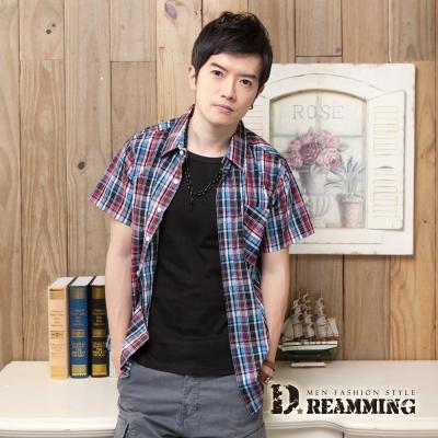 Dreamming 格紋學院氣質純棉短袖休閒襯衫-紅藍