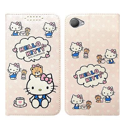 Hello Kitty貓 HTC Desire 12 粉嫩系列彩繪磁力皮套(小熊...