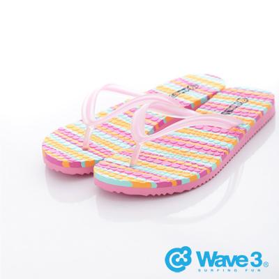 WAVE3【女】台灣製果凍人字夾腳拖~粉