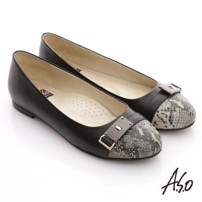 A.S.O 減壓美型 全真皮拼接動物紋窩心平底鞋 黑