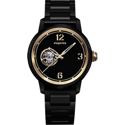 elegantsis GOLDEN FASHION  JT75A鏤空機械錶-黑金/43mm