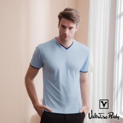 Valentino Rudy 范倫鐵諾.路迪 吸濕排汗超冰涼機能T恤衫-水藍-雙v領