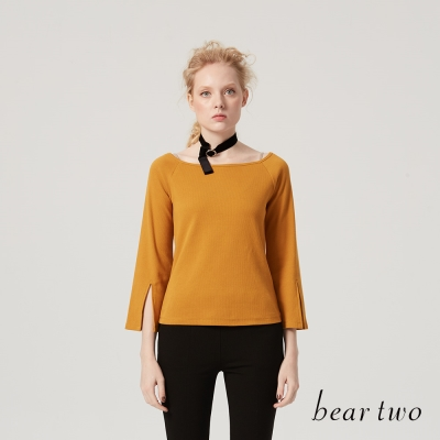 beartwo 寬領喇叭袖袖開衩棉質上衣(三色)
