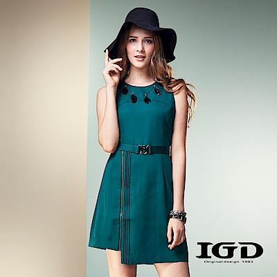 IGD英格麗不對稱剪裁收腰綁帶顯瘦小洋裝-綠色