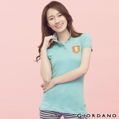 GIORDANO-女裝刺繡獅王徽章修身短袖POLO