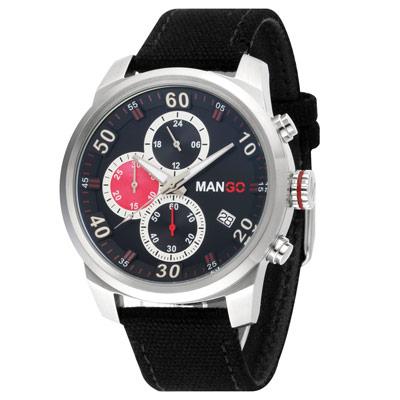 MANGO HOMME 三眼中性時尚不鏽鋼時尚腕錶-黑x銀x紅/45mm