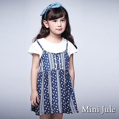 Mini Jule 童裝-洋裝 假兩件花紋直條吊帶洋裝(藍)