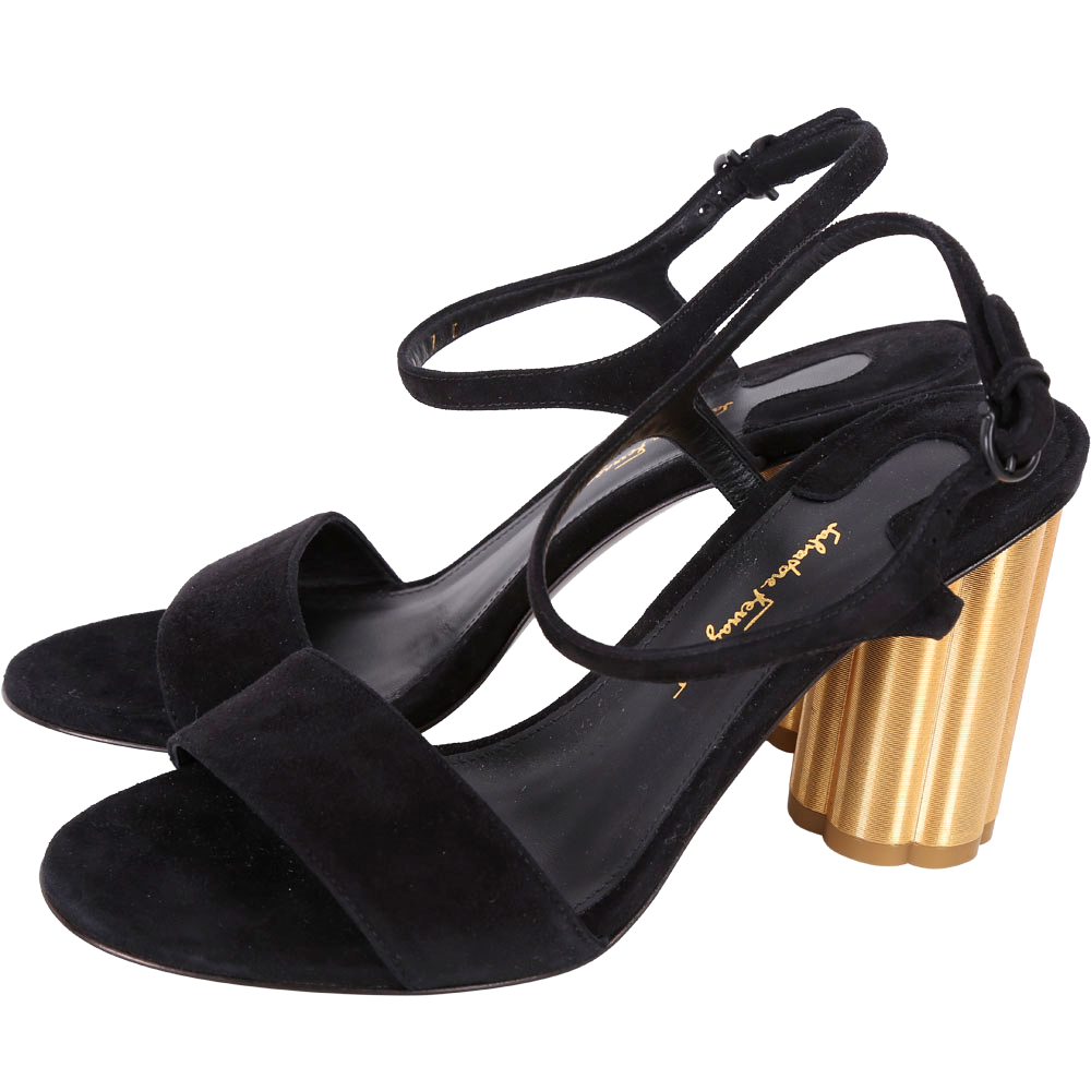 Salvatore Ferragamo SIENA85 花型粗跟麂皮繫帶涼鞋