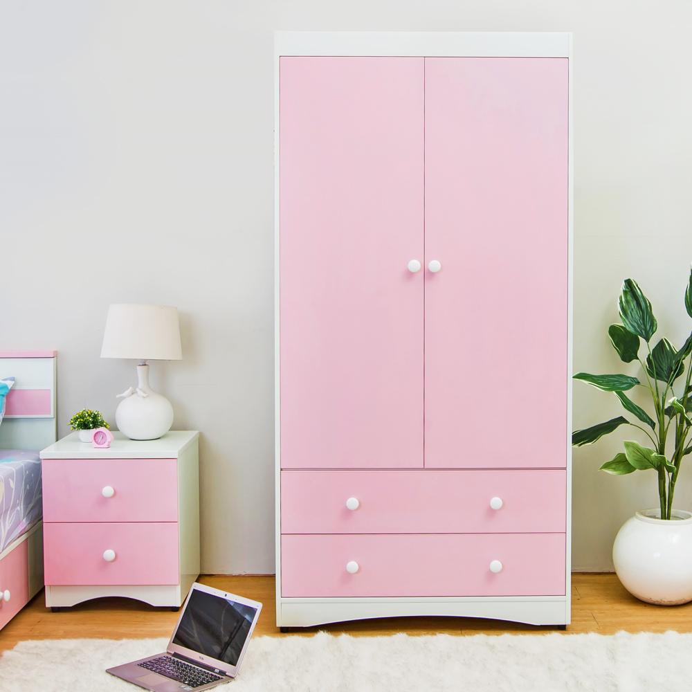 Birdie南亞塑鋼-貝妮3.1尺粉色二門二抽塑鋼衣櫃-94x58x190cm