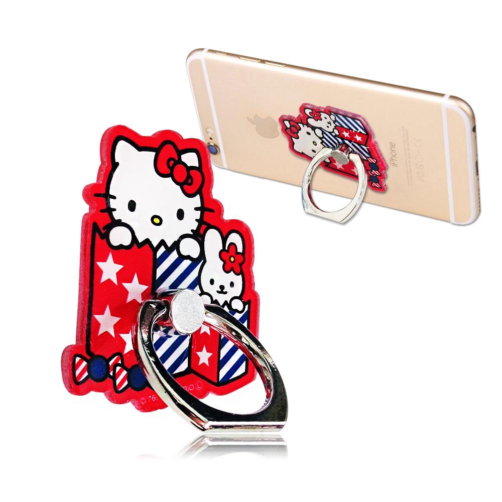 三麗鷗授權 Hello Kitty 凱蒂貓手機防摔造型指環扣 手機支架(禮物盒)