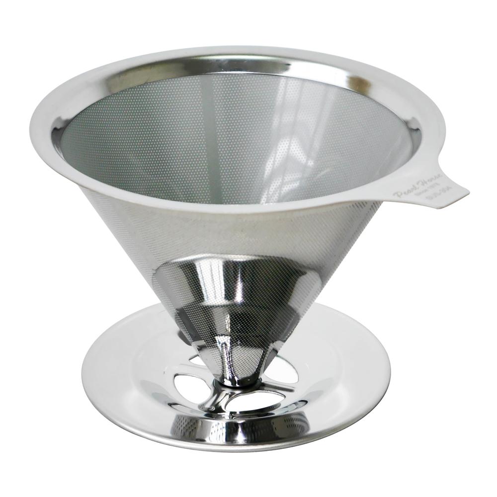 日本寶馬1~4杯錐型極細雙層不鏽鋼濾器(架座型) HK-S-V02