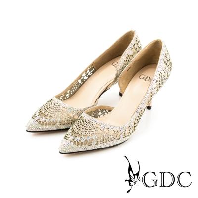GDC-性感水鑽內側縷空真皮尖頭高跟鞋/婚鞋-粉色