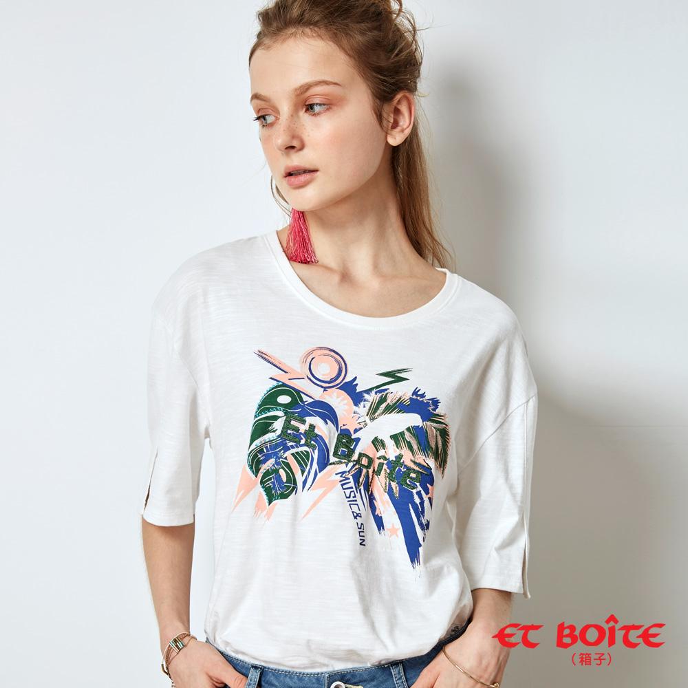 ETBOITE 箱子 BLUE WAY 夏日音樂派對印花開衩袖T恤-白
