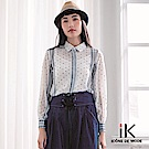 iK-個性波卡圓點條紋造型雪紡襯衫
