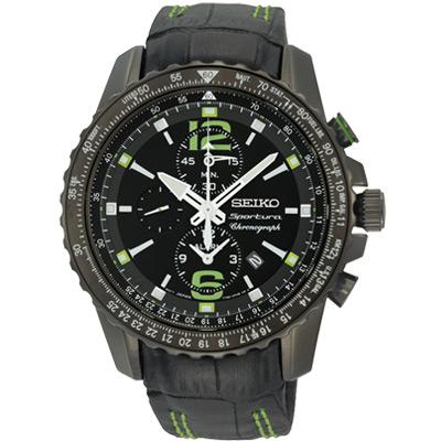 SEIKO Sportura 超越自我競速計時腕錶(SNAE97J1)-黑/43mm