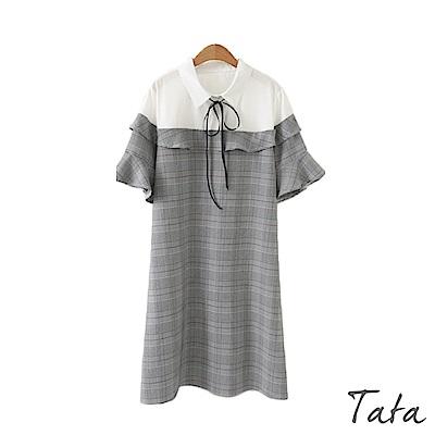 假兩件繫帶格紋洋裝 中大尺碼 TATA PLUS