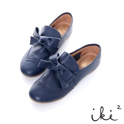 iki2英倫氣息-真皮大領結經典牛津鞋-藍