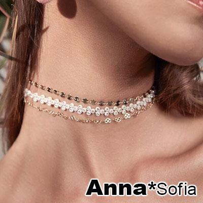 AnnaSofia 三角鑽混搭層次 鎖骨鍊項鍊頸鍊CHOKER(黑系)