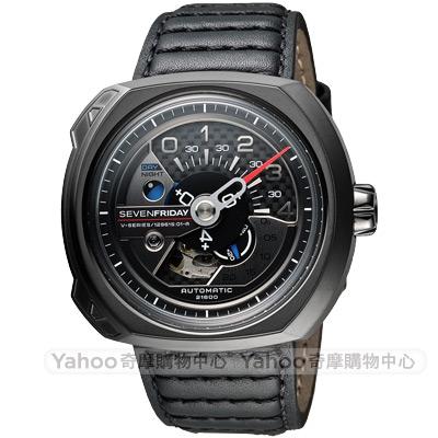 SEVENFRIDAY V3 設計師工藝自動上鍊機械錶-黑/50mm