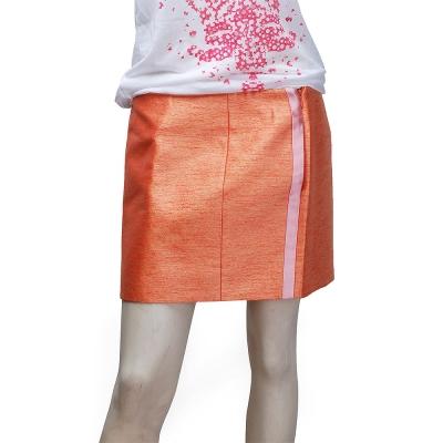 BALENCIAGA 優雅緞面側邊金蔥短裙(橘-38)