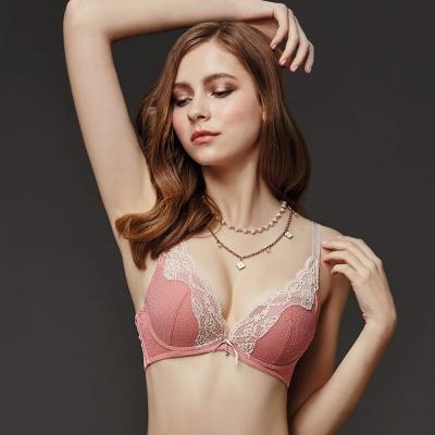La Felino-紐約玫瑰<b>3</b>/4深V泡棉款B-D罩杯內衣(泡糖粉)