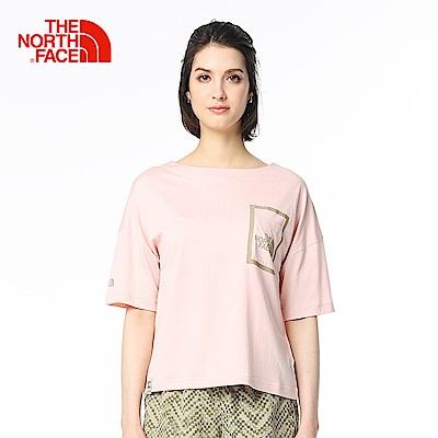 The North Face北面女款粉色吸濕排汗戶外短袖T恤
