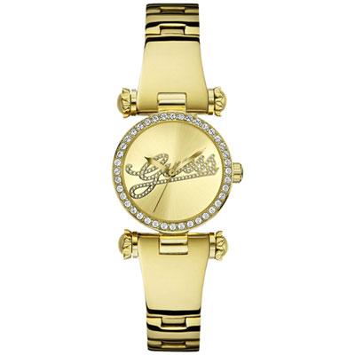 GUESS 現代摩登時尚晶鑽腕錶-金/28mm
