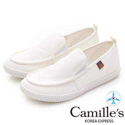 Camille's 韓國空運-正韓製-馬卡龍色帆布懶人休閒鞋-白色