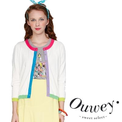 OUWEY歐薇-亮彩滾邊針織外套