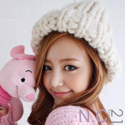 N.C21-亮彩系素面韓版粗針蘑菇帽 (共七色)